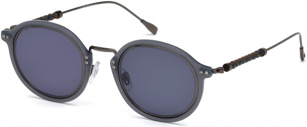 Tod's TO0217 Sunglasses, 20V - Shiny Ruthenium, Grey Rims, Blue, Green & Brown Leather/ Blue
