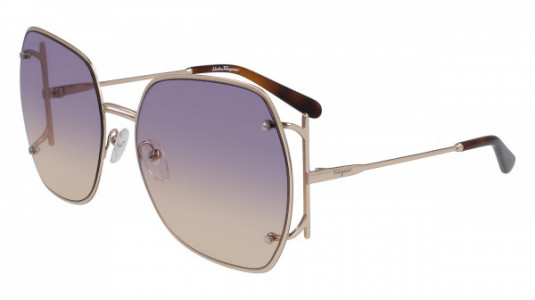 Ferragamo SF202S Sunglasses, (702) ROSE GOLD/VIOLET ROSE